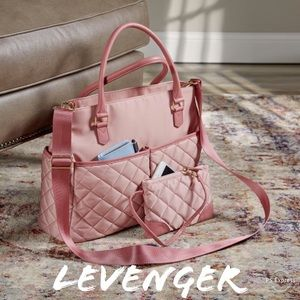 Levenger Charlotte Quilted Tote Bag with extras